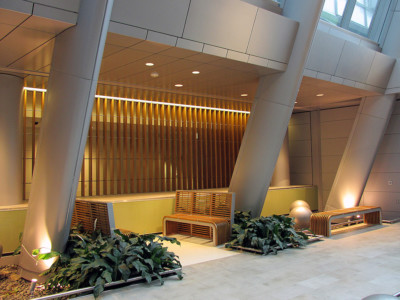 Image of wood slat divider and benches.