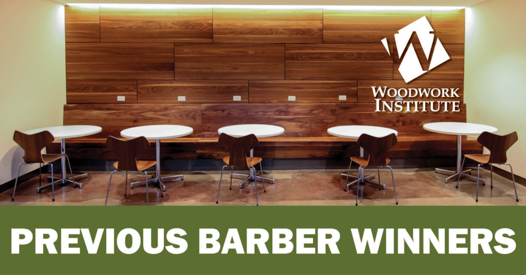 "Image of wood panelled wall, the Woodwork Institute logo, and text: ""Previous Barber Winners"""