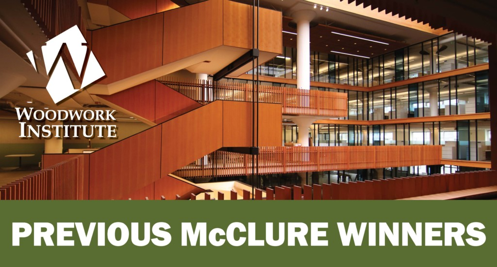 """Image of wood panelled floating stairs, the Woodwork Institute logo, and text: """"Previous McClure Winners"""""""