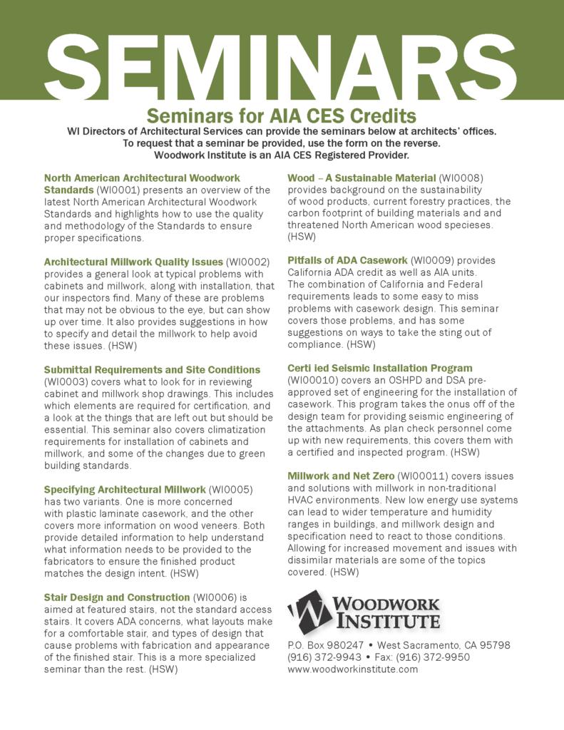 Aia Seminars Woodwork Institute