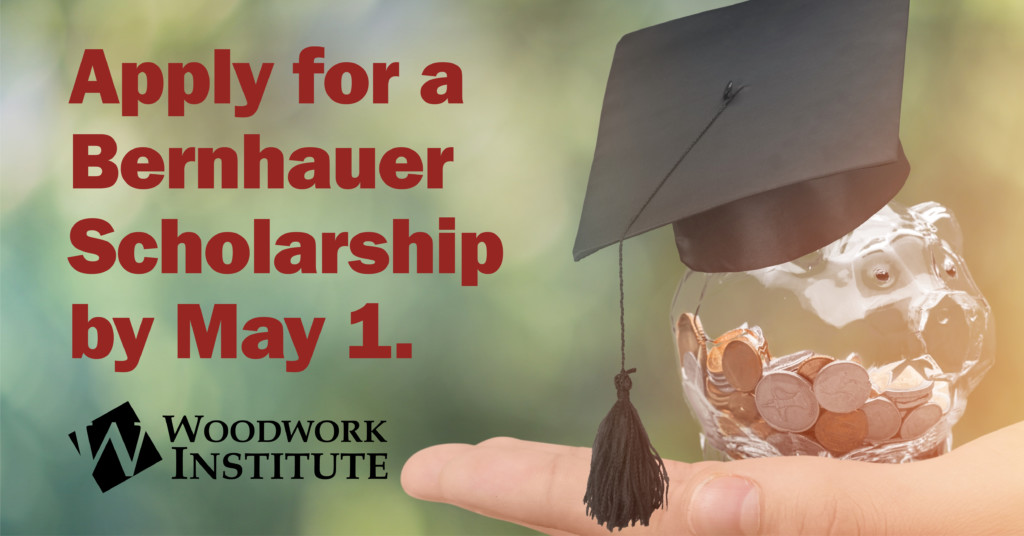 "WI logo, image of piggy bank wearing graduation cap – ""Apply for a Bernhauer Scholarship by May 1"""